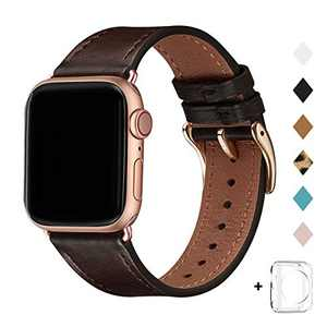 Bestig Band Compatible for Apple Watch 38mm 40mm 42mm 44mm, Genuine Leather Replacement Strap for iWatch Series 6 SE 5 4 3 2 1, Sports & Edition (Coffee Band+Rose Gold Adapter, 38mm 40mm)
