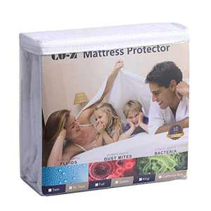 CO-Z Waterproof Mattress Protector Queen with Soft Breathable 100% Organic Cotton Terry Cover, Fitted 8-21 Inch Deep Pocket, Hypoallergenic Mattress Pad Cover, Bed Bug Proof