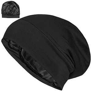 ALEXANDER PRODUCTS Satin Lined Sleep Cap Adjustable Bonnet Slouchy Beanie Slap Hat for Natural Curly Girls and Frizzy Hair Cap for Women Black