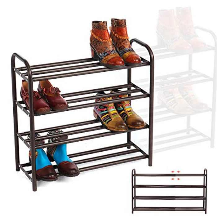 GEMITTO 4-Tier Shoe Organizer Rack, Extendable Heavy Duty Home Shoe Racks Storage, Holds 20+ Pairs of Shoes, Shoes Rack Storage Shelf for Closet Bedroom Entryway Brown 60-106x22.5x61.5 cm (L x W x H)