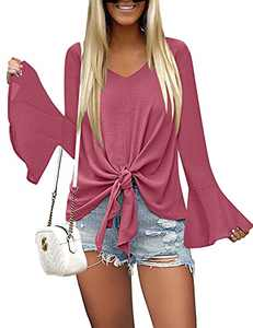 LUYEESS Women's Coral V Neck Blouse Long Bell Sleeve Tops Tie Front Knot Solid Shirt M(US 8-10)