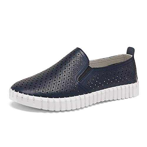 DREAM PAIRS Women's Navy Breathable Sneaker Slip On Loafers Comfortable Flat Shoes Casual Slip-on Shoes Size 8 M US Essa