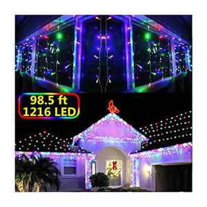 KNONEW LED Icicle Lights, 98ft 1216 LED, 8 Modes, Curtain Fairy String Light Clear Wire LED String Decor for Christmas/Thanksgiving/Easter/Halloween/Party Backdrops Decorations (Multicolor)