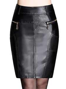 Anna-Kaci Women's Pocket Zipper Faux Leather Bodycon Slim Mini Pencil Skirt, Black (Gold Zipper), Small