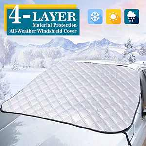 """TSAUTO Windshield Snow Cover, Car Windshield Ice Snow Cover with Magnetic Edges, Thicker 4 Layers Frost Defense Protection, Extra Large Fits for Most Cars, SUVs and Trucks (Large/62"""" x 50"""")"""