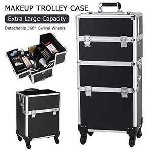 3 in 1 Aluminum Rolling Makeup Train Case Cosmetic Trolley 4 Removable Wheels Professional Artist Train Case Organizer Box (Black)
