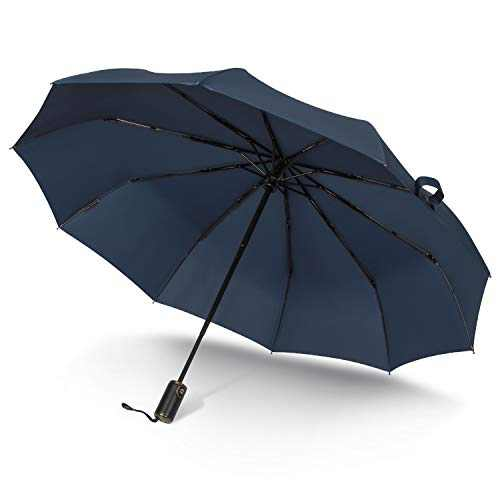 asika Saiveina Travel Umbrella, 10 Ribs Reinforced Rid Windproof Waterproof Umbrella, Automatic Folding Umbrella for Men Dark Blue