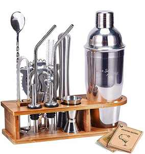 Bartender Kit Cocktail Shaker Set, AHNR 14-Piece Stainless Steel Bar Tool Set with Stylish Bamboo Stand Bartending Kit Martini Cocktail Shaker Set for Home,Bars,Traveling and Outdoor Parties