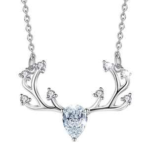 CELESTIA Sterling Silver Animal Necklace for Women, Cat/Dog/Deer/Squirrel/Feather Pendant Necklace for Girls - 18'' Chain