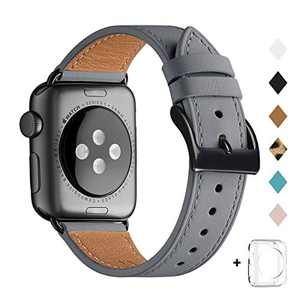 Bestig Band Compatible for Apple Watch 38mm 40mm 42mm 44mm, Genuine Leather Replacement Strap for iWatch Series 6 SE 5 4 3 2 1, Sports & Edition (Gray Band+Black Adapter, 38mm 40mm)
