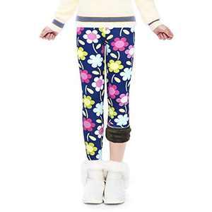 Winter Thick Warm Long Kids Pants Fleece Lined Girls Leggings(GP23_Floral_120)