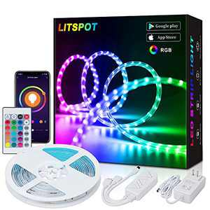 LITSPOT Smart WiFi Led Strip Lights 16.4FT - Flexible Color Changing 5050 RGB 300LEDs Light Strip Kit with IR Remote and 12V Power Supply for Bedroom Bar Home Kitchen DIY Decoration