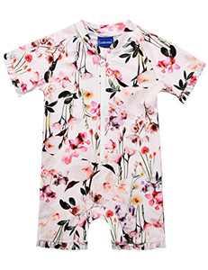 Cadocado Girl's One-Piece Swimwear with Zipper Short Sleeve Rash Guard Ruffle Cuffs Sun Protection Swimsuit,Flower Print,9-12 Month