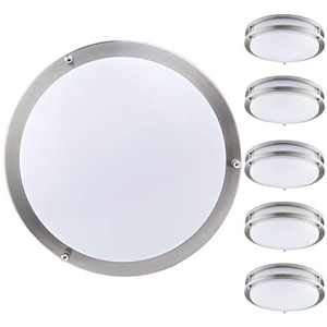 """KINGBRITE Flush Mount Ceiling Light 12"""" (6 Pack) 15W Dimmable LED Ceiling Lamp 1050lm 3000K Warm White, Brushed Nickel Round Lighting Fixture for Hallway, Kitchen, Bedroom, Stairwell"""