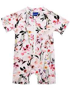 Cadocado Little Girls' Pink Swimwear One Piece Swimsuit Zip Front Rash Guard Ruffled Sunsuit Bathing Suit,Flower Print,5-6 Years Old