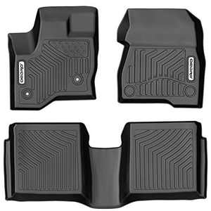 OEDRO Floor Mats Compatible for 2009-2019 Ford Flex, Unique Black TPE All-Weather Guard Includes 1st and 2nd Row: Front, Rear, Full Set Liners