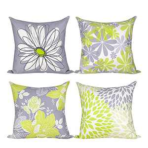 """ionlyou Pillow Covers 18""""x18"""", Set of 4 Pillow Covers Modern Throw Pillow Covers Gray Yellow Flower Fall Pillow Covers Cotton Linen Neutral Decorative Pillow Covers for Sofa Couch Chair"""