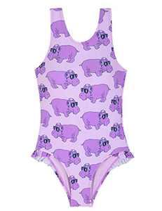 Cadocado Girls' Swimwear Florence Beachwear Racer Back One Piece Swimsuit,Purple,4-5 Year Old Girls