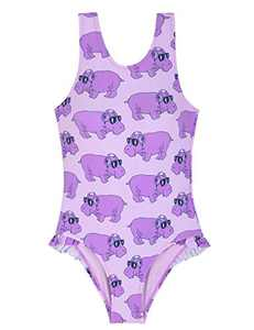 Cadocado Girls' Swimsuit One Piece Hippo Swimsuit with Ruffle Racer Back Sport Beachwear,Purple,2-3 Year Old Girls