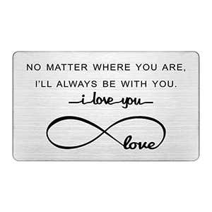 Long Distance Relationships Gifts, I'll Always Be With You, Stainless Steel Wallet Insert, Deployment Gifts for Men, I Love You Gifts, Boyfriend Gifts, Permanent Engraving Card