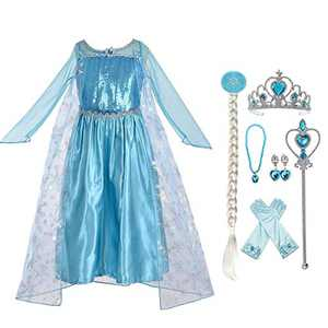 Enterlife Girls Costume Princess Dress Fancy Special Edition Blue Deluxe Costume for Party Halloween, Dress+accessories, Size 120 for 4-5 Years