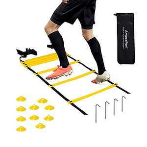 21ft Adjustable Agility Ladder & Speed Footwork Cones Training Set - Workout Equipment for Football, Basketball, Baseball, Soccer & Lacrosse - Includs 13 Durable Rungs, 10 Disc Cones & 1Carry Bag