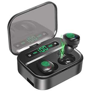 PEMOTech Wireless Earbuds, 120H Playtime IPX7 Waterproof True Wireless Earbuds, 3500mAh Charging Case with LED Display Touch Control Sound Noise Cancelling Sport Bluetooth 5.0 Earphones