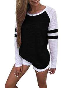 Yidarton Women's Color Block Long Sleeve T Shirt Casual Round Neck Tunic Tops(Black,L)