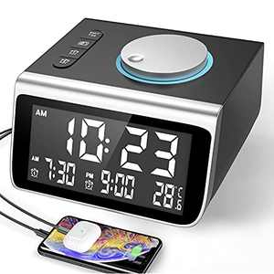 Dekala Digital Alarm Clock Radio Alarm Clock for Kids Bedroom Small Digital Clock Kids Alarm Clock with USB Charger Desk Clock radios 2 USB Charging Ports Battery Backup Small Clock for Kids
