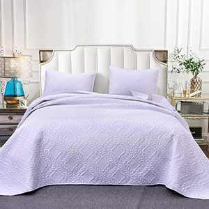 SETWIER Bedspread Quilt Set Luxury Soft Microfiber Lightweight Coverlet and Pillow Case, Quilt Set 2 Piece (1 Quilt, 1 Pillow Sham) (White, Twin)