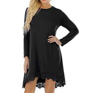 Miqieer Women's Long Sleeve Lace Trim Casual Round Neck Tunic Blouse Loose Casual Dress with Pockets Black (Black, Large)