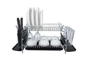 YP Dish Rack Large Capacity Dish Rack 2 Tier Dish Drying Rack with Drainborad Dish Drying Rack with Tray