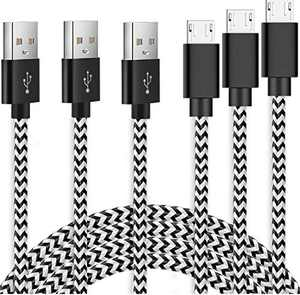 Micro USB Cable SUPWISER 3 Pack 6.6 FT,Nylon Braided Android Charging Cord for Samsung Galaxy S7 S6 Edge Plus S6+ S4 7 6,Note 5 4 A7 A9 A10 J5 J7 J8,LG K30 K20,Kindle Fire 8 10, Xbox ONE,PS4