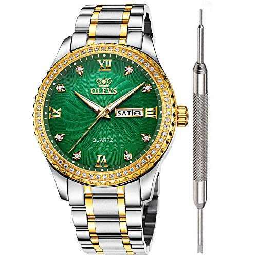 OLEVS Green Dial Diamond Watches for Men Waterproof Mens Best Fashion Business Casual Watch Calendar Week Analog Quartz Watch Stainless Steel Classic Wrist Watch Christmas