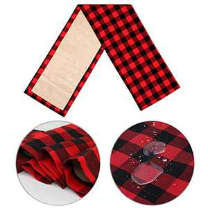 HAKACC 14×108 Inch Black and Red Buffalo Plaid Table Runner Cotton Burlap Table Runner for Christmas Holiday Birthday Party Table Home Decoration