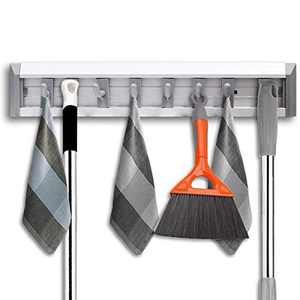 QHGC Mop Broom Holder Wall Mount and Garden Tool Organizer,Closet Storage, Kitchen Rack, Home Organization and Garage Organizer (The Parts can be Split and DIY MIX)