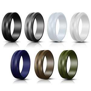Jornarshar Silicone Rings, Silicone Wedding Ring for Men & 7 Rings Wedding Bands for Men - 8 mm Wide Size 8 9 10 11 12-7 Pack (12)