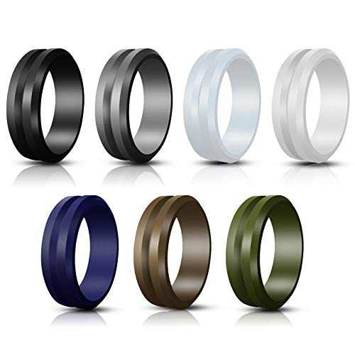 Jornarshar Silicone Rings, Silicone Wedding Ring for Men & 7 Rings Wedding Bands for Men - 8 mm Wide Size 8 9 10 11 12-7 Pack (9)
