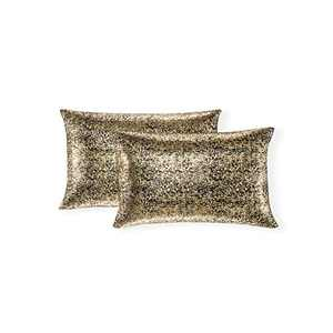Xinrjojo Pack of 2, Shimmery Pillow, Soft Solid Color Sparkling Decorative Throw Pillow Covers Set, Cushion Cases Pillowcases for Sofa Bedroom Car, 12 x 20 Inch 30 x 50 cm (Bronzing- Black)