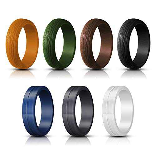 Jornarshar Silicone Rings, Silicone Wedding Ring for Men & 7 Rings Wedding Bands for Men - 8.7 mm Width & 2.5 Thickness Size 8 9 10 11 12-7 Pack (9)