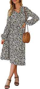 Sulozom Women's Casual Dress Leopard Print Long Sleeve V-Ncek Dresses Button Drawstring Waist Belt Bubble Sleeve Midi Dress White XL