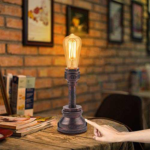 Industrial Lamp, 3 Way Touch Control Dimmable Vintage Lamp with E26 ST64 60W Edison Bulb Industrial Desk Lamp Water Pipe Steampunk Lamp Industrial Lamps for Bedrooms Living Room Cafe Bar House Décor