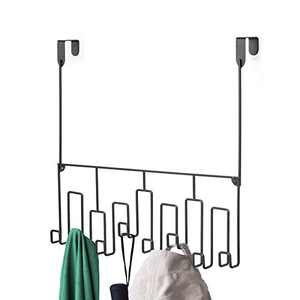 Alsonerbay Over Door Hooks Organizer, Wall Mounted Coat Hanger, Metal Storage Rack for Shirt, Belt, Hat, Coat, Door Towel Holder, Set of 2 Black