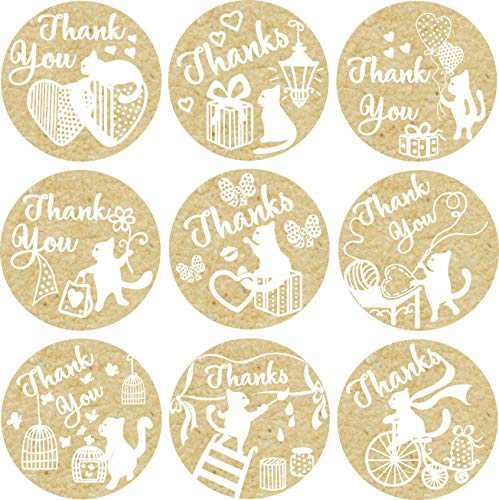 "1.4"" Kraft Thank You Stickers 500 in Roll - Thanks Kraft Labels - Sticker for Envelope Seal, Wedding and Birthday Favor, Gifts - Thankful Kraft Stickers"