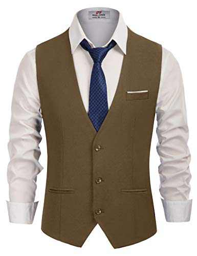 Men's Dress Vests Lightweight Waistcoat 3 Button Vest for Wedding Brown, Large