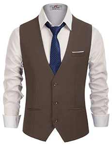Men's Plain Coffee Suit Vest Slim Fit 3 Button Patry Dress Vest Coffee, XX-Large
