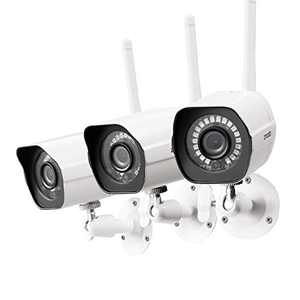 [2021 Upgrade] Zmodo Security Camera Outdoor (3 Pack), 1080p Wireless WiFi, Night Vision, Cameras for Home Security, AI Motion Detection, Weatherproof, Works with Alexa Google Assistant, Metal Case