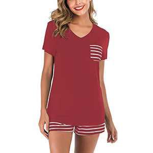 Lu's Chic Women's Short Sleeves Pajamas Set Stripe Top Shorts Nightwear 2 Pieces Soft PJ Loungewear Red Small