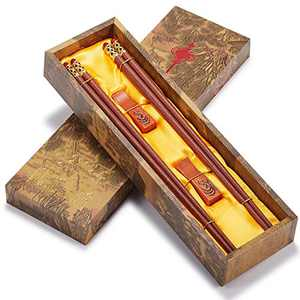 Reusable Chopsticks-Chinese Natural Wooden Chopstick,With Holder and Carrying Bag Gift Set