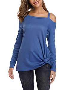 kayamiya Women's Long Sleeve Cold Shoulder Shirts Twist Knot Waffle Knit Pullover Tops XL/10-12 Blue